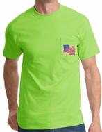 American T-Shirt USA Waving Flag Embroidered Patch Pocket Lime Green