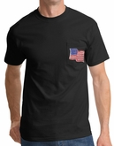 American T-Shirt USA Waving Flag Embroidered Patch Pocket Tee Black