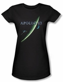 Apollo 13 Juniors T-shirt Movie Poster Black Tee Shirt