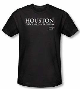 Apollo 13 Slim Fit T-shirt Movie Houston Adult Black Tee Shirt