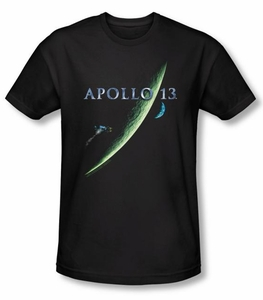 Apollo 13 Slim Fit T-shirt Movie Poster Adult Black Tee Shirt