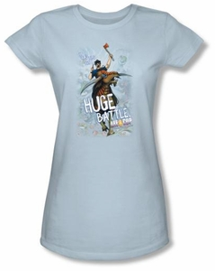 Axe Cop Juniors T-Shirt � Huge Battle Comic Book Light Blue Tee Shirt