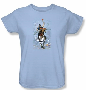 Axe Cop Ladies T-Shirt - Huge Battle Comic Book Light Blue Tee Shirt