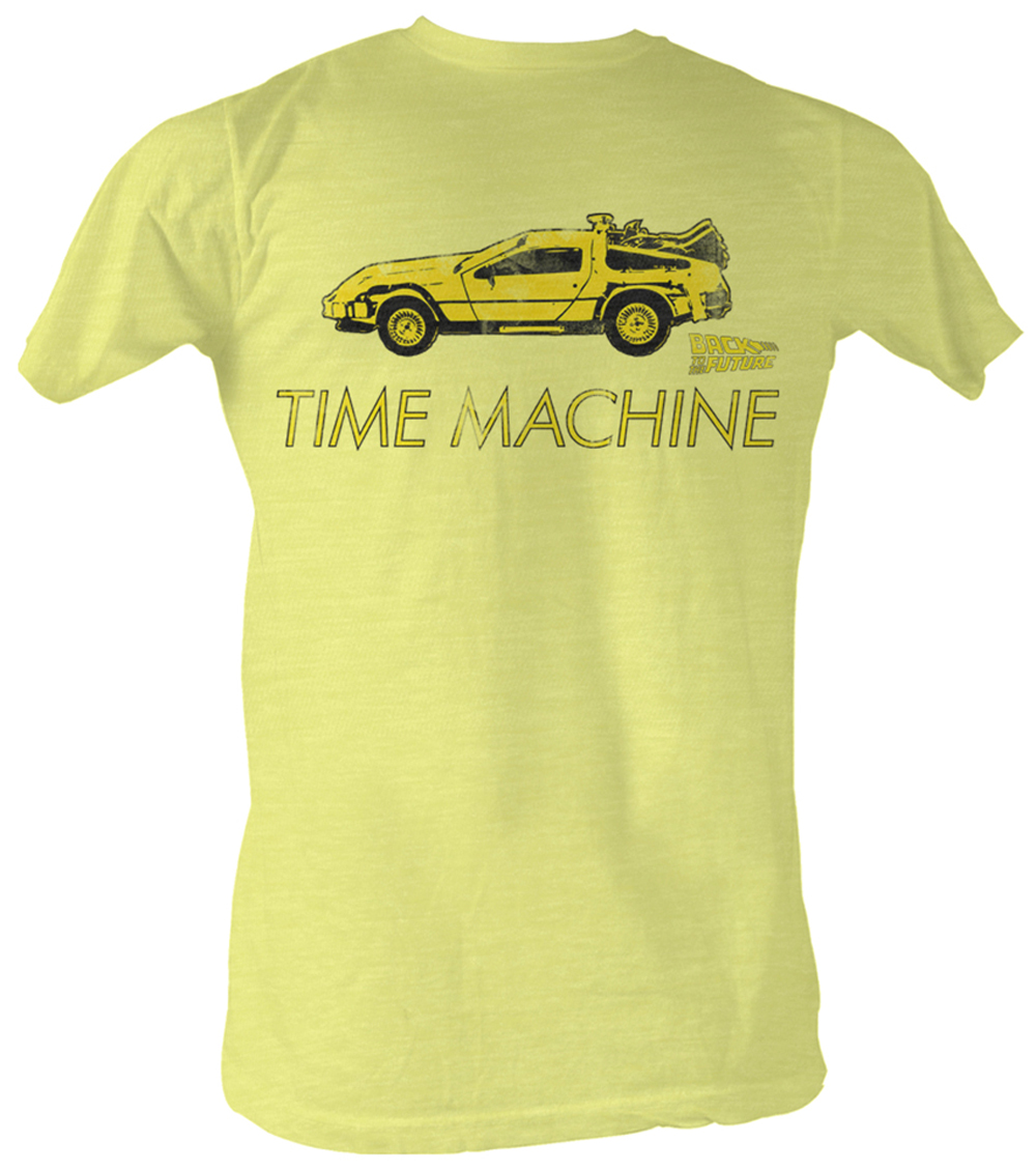 Back to the future t shirt delorean bright yellow adult tee shirt