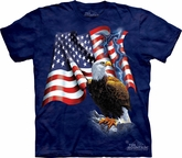 Bald Eagle Shirt Tie Dye American Flag Patriotic T-shirt Adult Tee