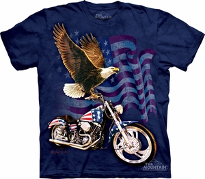 Bald Eagle Shirt Tie Dye Born to Ride T-shirt Adult Tee