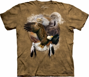 Bald Eagle Shirt Tie Dye Tribal Shield T-shirt Adult Tee