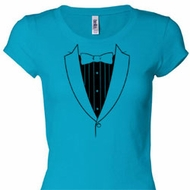 Basic Black Tuxedo Ladies Shirts