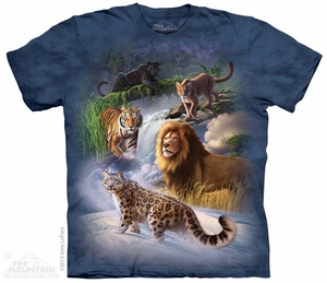 Big Cat Collage Shirt Tie Dye Adult T-Shirt Tee