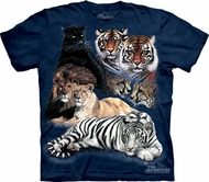 Big Cat Shirt Tie Dye Collage T-shirt Adult Tee
