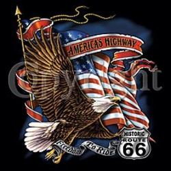 Biker T-shirt - Route 66 American Flag Eagle Tee