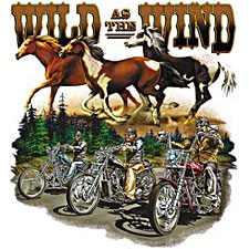 Biker T-shirt - Wild as the Wind Western Tee