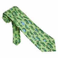 Birdie�s Eye View Tie Green Silk Necktie � Mens Sports Neck Tie