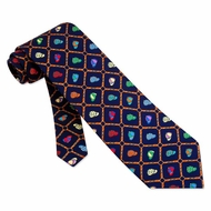 Bits and Caps Blue Silk Tie Necktie - Men's Animal Print Neck Tie