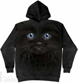 Black Kitten Hoodie Tie Dye Adult Hooded Sweat Shirt Hoody