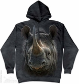 Black Rhino Hoodie Tie Dye Adult Hooded Sweat Shirt Hoody