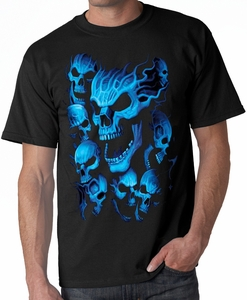Blue Skulls Biker Tee Shirt - Black