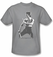 Bruce Lee Kids T-shirt Youth Chinese Characters Silver