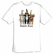 Cat T-shirt - Beach Bums Funny Adult Pet Tee Shirt