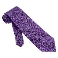 Cheetah Purple Microfiber Tie Necktie - Men's Animal Print Neck Tie