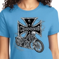 Chopper Cross Skeleton Ladies Biker Shirts
