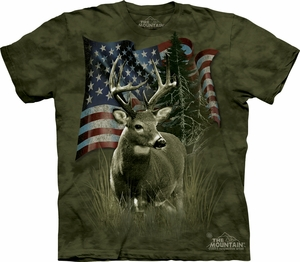 Deer Shirt Tie Dye Buck American Flag T-shirt Adult Tee