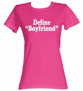 Define Boyfriend Funny Juniors Hot Pink Tee T-Shirt