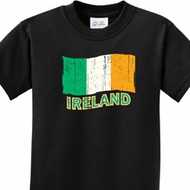 Distressed Ireland Flag Kids St Patrick's Day Shirts
