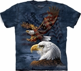Eagle Shirt Tie Dye American Flag Collage T-shirt Adult Tee
