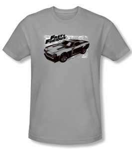 Fast And Furious T-shirt Movie Spray Car Adult Silver Slim Fit Shirt