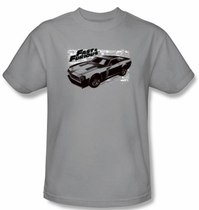 Fast And Furious T-Shirt Movie Spray Car Adult Silver Tee Shirt