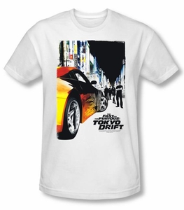 Fast And Furious Tokyo Drift T-shirt Poster Adult White Slim Fit Shirt