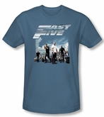 Fast Five T-shirt Movie Poster Adult Slate Blue Slim Fit Shirt
