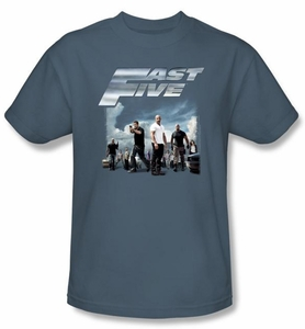 Fast Five T-Shirt Movie Poster Adult Slate Blue Tee Shirt