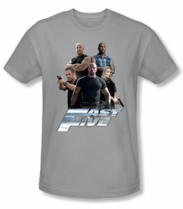 Fast Five T-shirt Movie The Fast Five Crew Adult Silver Slim Fit Shirt