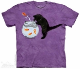 Fishin Kitten Shirt Tie Dye Adult T-Shirt Tee