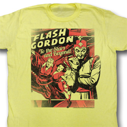 Flash Gordon Shirt To The Stars Adult Yellow Tee T-Shirt