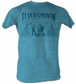 Flash Gordon T-Shirt - Flash Blue Adult Turquoise Heather Tee Shirt