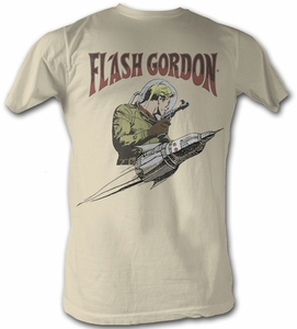 Flash Gordon T-Shirt - Flash Rocket Adult Gray Tee Shirt