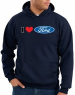 Ford Hoodie Sweatshirts - I Love Ford Logo Adult Hoody