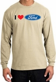 Ford Long Sleeve Shirts - I Love Ford Logo Adult T-Shirts