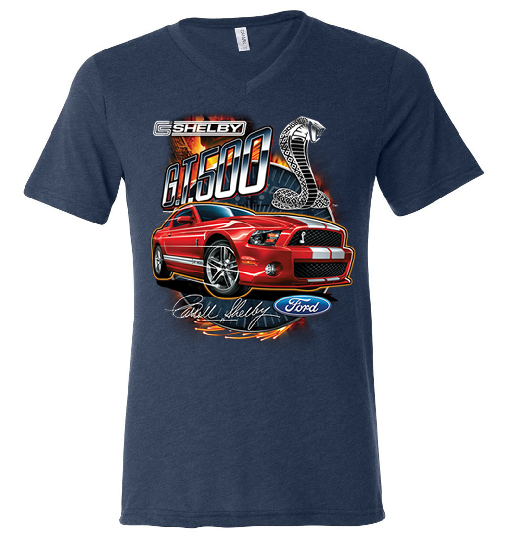 Ford Mustang Mens Shirt Red Shelby GT 500 Tri Blend V-neck ...