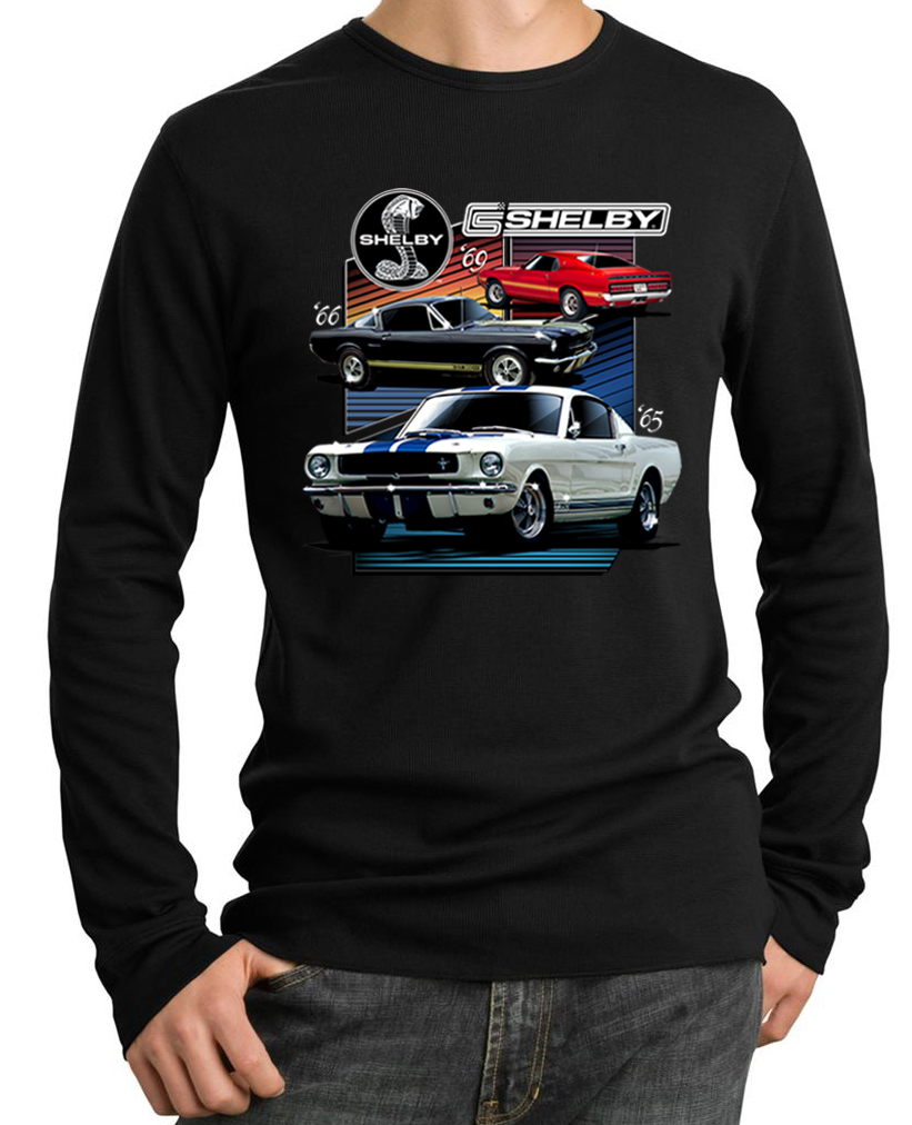 Ford mustang shirt various shelby mens long sleeve thermal shirt 4