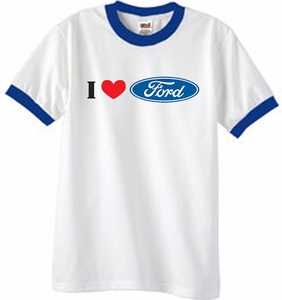 Ford Ringer T-Shirt - I Love Ford Logo Adult Tee Shirts