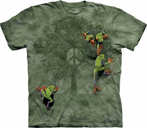 Frog Shirt Tie Dye Peace Tree T-shirt Adult Tee
