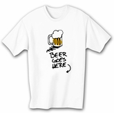 Funny Drinking T-shirt - Beer Goes Here White Tee