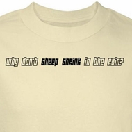 Funny Sheep T-Shirt Why Don't Sheep Shrink In The Rain Natural Tee