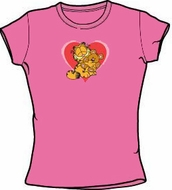 Garfield CUTE N'CUDDLY Juniors Size Fitted Girly T-shirt Tee Shirt