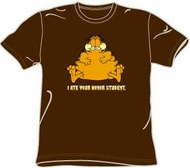Garfield I ATE YOUR HONOR STUDENT Funny Adult Brown T-shirt Tee Shirt