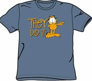 Garfield THEY DID IT Funny Adult Size T-shirt Tee Shirt